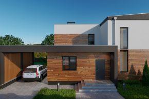 Проект двухэтажного дома с гаражом хай тек