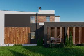 Проект двухэтажного дома с террасой хай тек