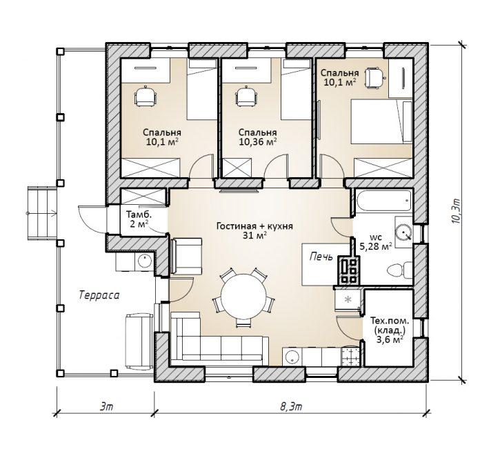 План жилого дома в 1 этаж с террасой