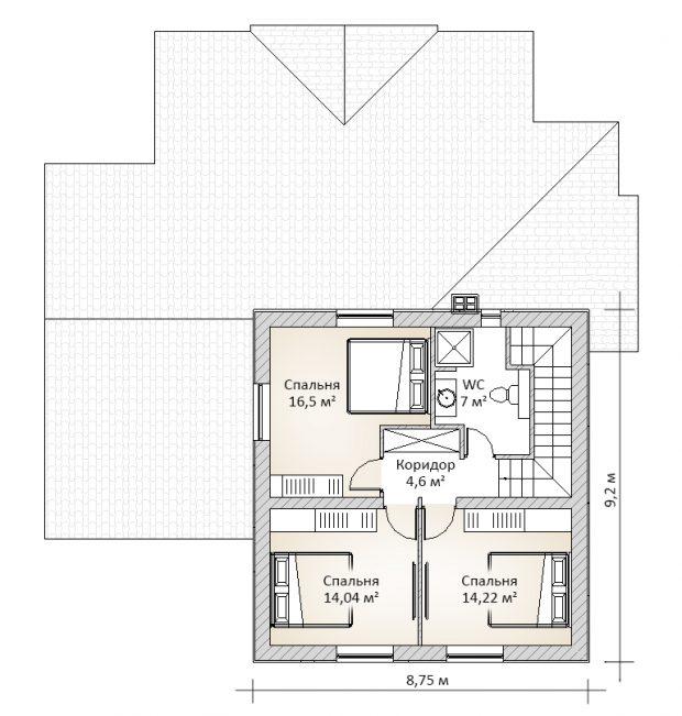 Проект мансардного дома без гаража П5-51 - второй этаж