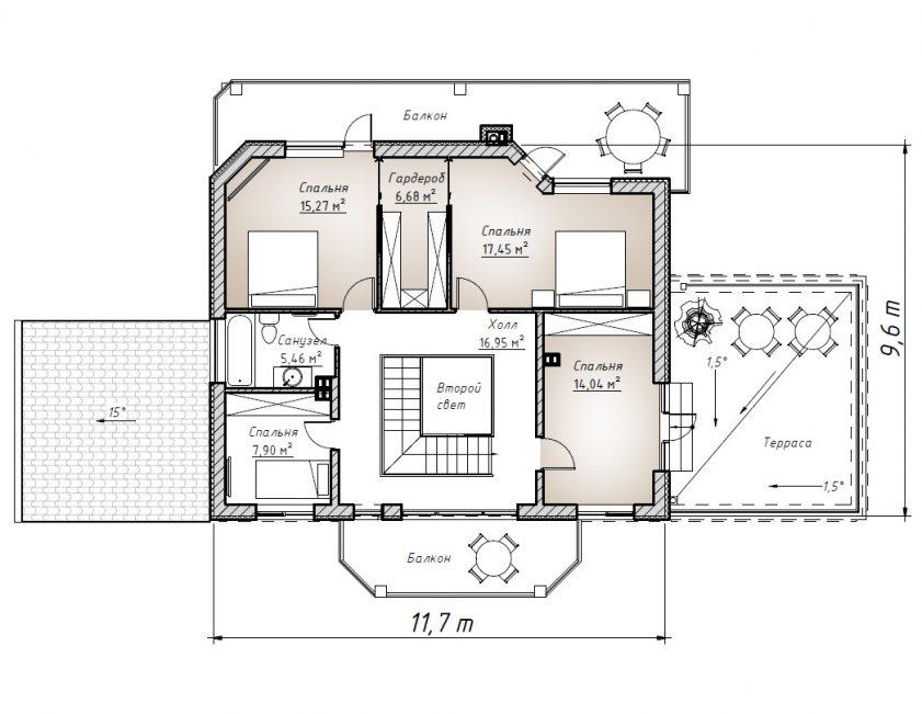 Второй этаж домика со вторым светом