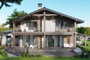 дом с мансардой и балконом во двор