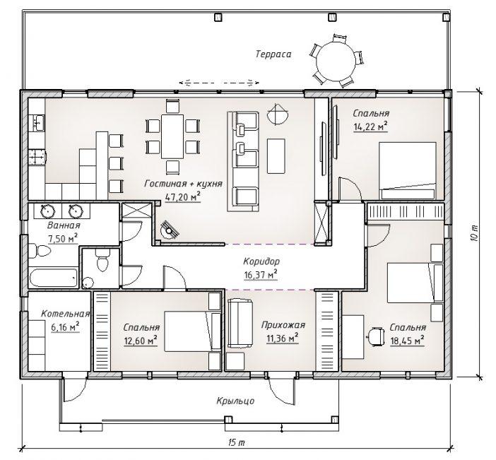 План первого этажа каркасника
