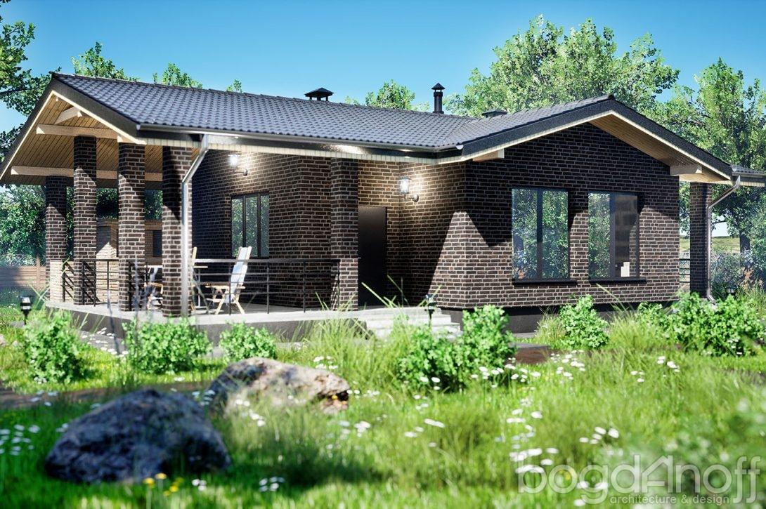 Проект домика с террасой и барбекю