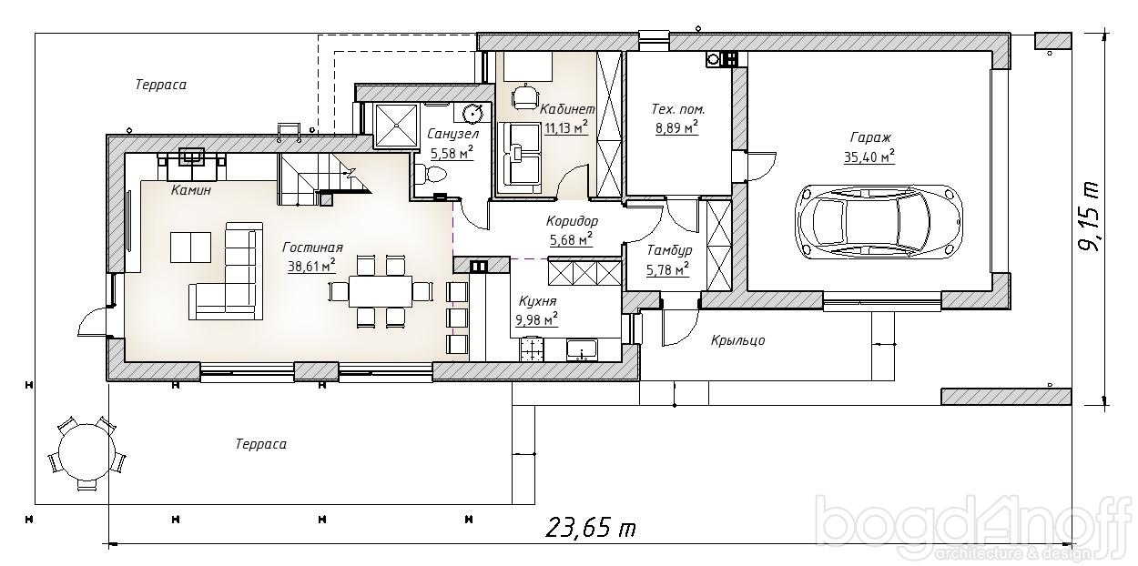 планировка дома с плоской крышей