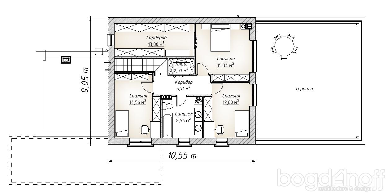 Планировка коттеджа второго этажа с террасой