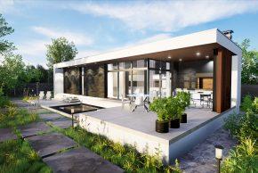 баня с террасой и плоской крышей