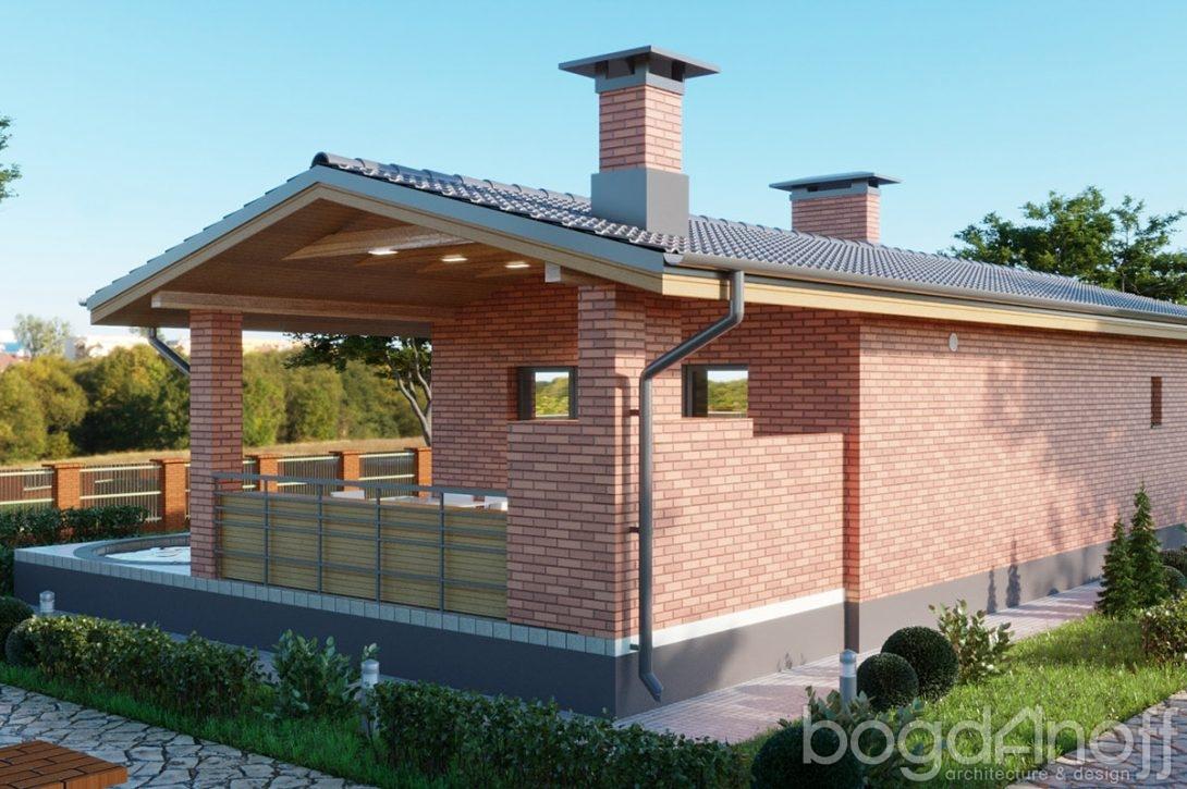 Проект одноэтажной бани с двускатной крышей