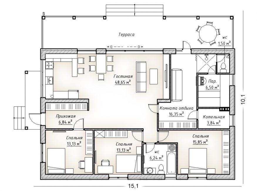 План коттеджа в 1 этаж